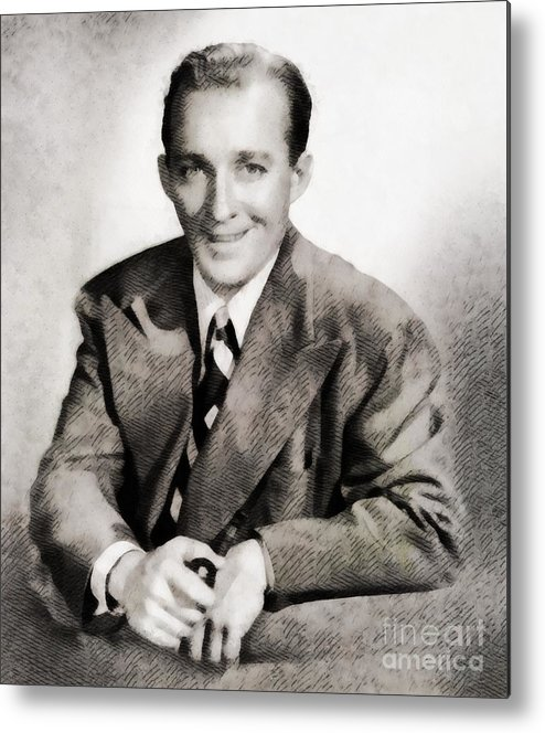Hollywood Metal Print featuring the painting Bing Crosby, Hollywood Legend By John Springfield by John Springfield