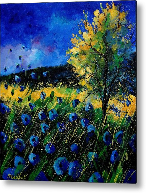 Poppies Metal Print featuring the painting Blue Poppies by Pol Ledent