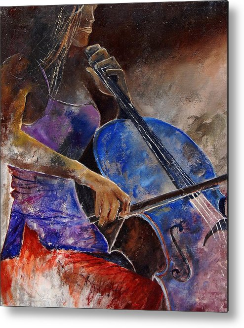 Music Metal Print featuring the painting Cello Player by Pol Ledent