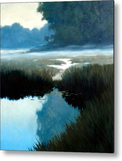 Landscape Metal Print featuring the painting Lifting Fog by Kevin Lawrence Leveque