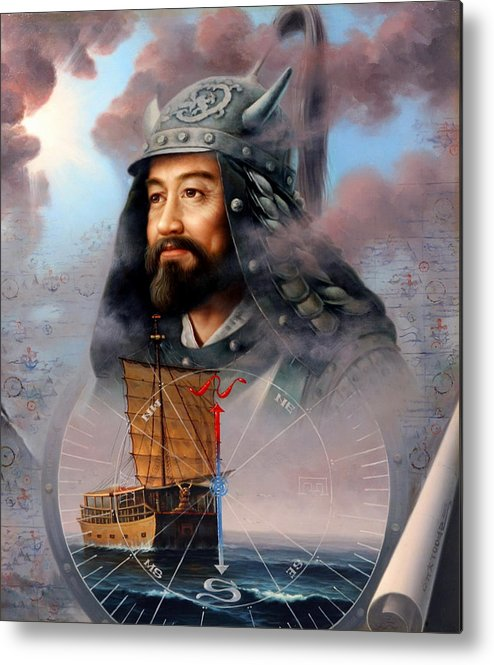Sea Captain Metal Print featuring the painting World Unification Blue Or Sea Captain by Yoo Choong Yeul