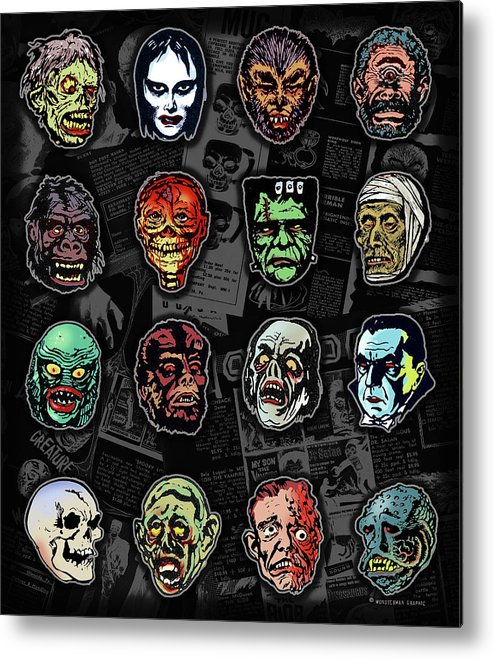 Monster Masks Metal Print featuring the digital art 16 Horror Movie Monsters Vintage Style Classic Horror Movies by Scott Jackson