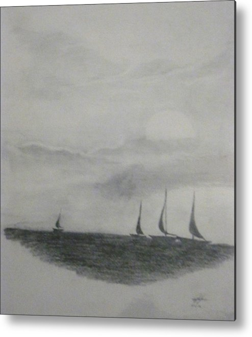 Sea Scape Metal Print featuring the painting Untitled by Christian Hidalgo