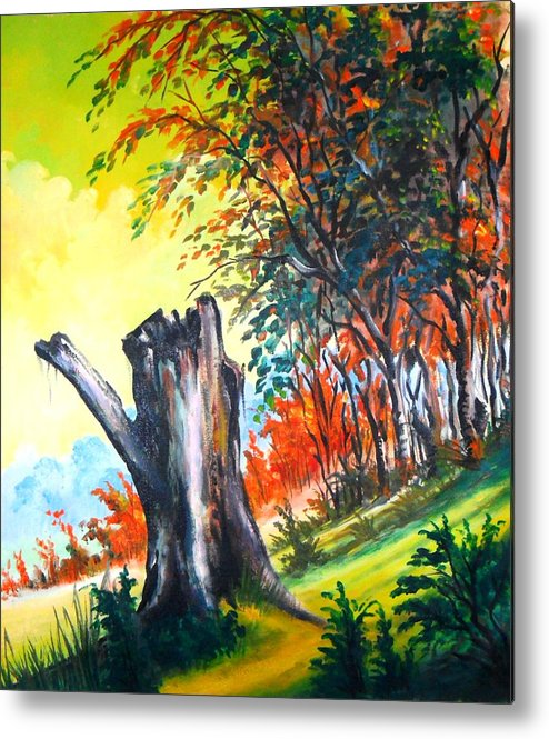 Landscape Metal Print featuring the painting Verde Que Te Quero Verde by Leomariano artist BRASIL