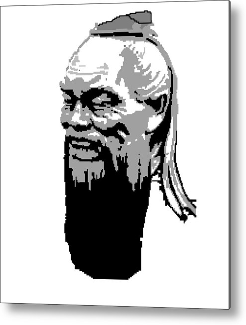 Metal Print featuring the digital art Confucius - Portrait By Asbjorn Lonvig by Asbjorn Lonvig