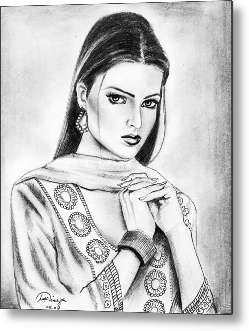 Portraits Metal Print featuring the drawing Visible Art by Mirza Abubakar