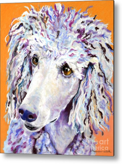 Standard Poodle Metal Print featuring the pastel Above The Standard  by Pat Saunders-White