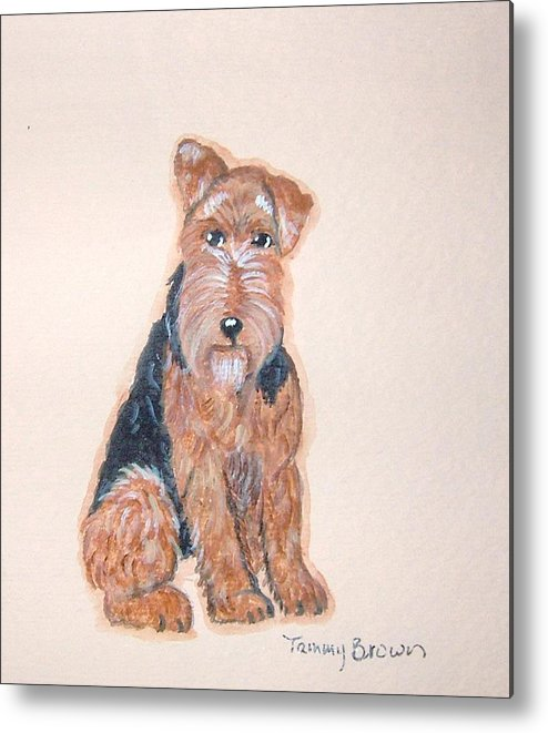 Airedale Terrier Metal Print featuring the painting Airedale Terrier by Tammy Brown