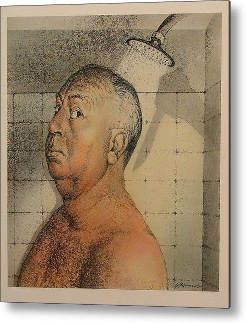 Portrait Metal Print featuring the painting Alfred Hitchcock The Shower by Gary Kaemmer