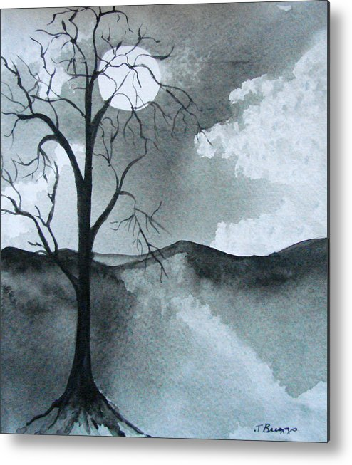 Tree Metal Print featuring the painting Bare Tree In Moonlight by Dottie Briggs