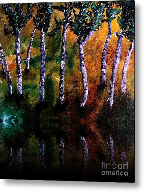 Acrylics Metal Print featuring the painting Birch Forest Reflections by Angela Loya