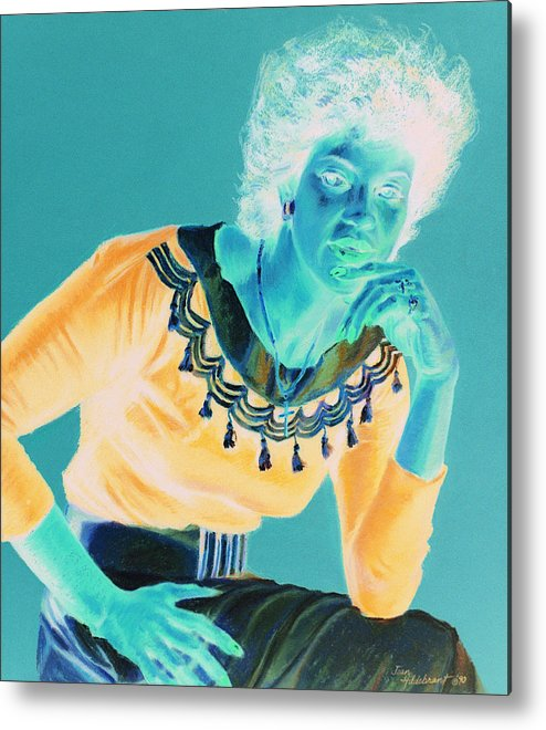 Portrait Metal Print featuring the painting Bobbi by Jean Hildebrant