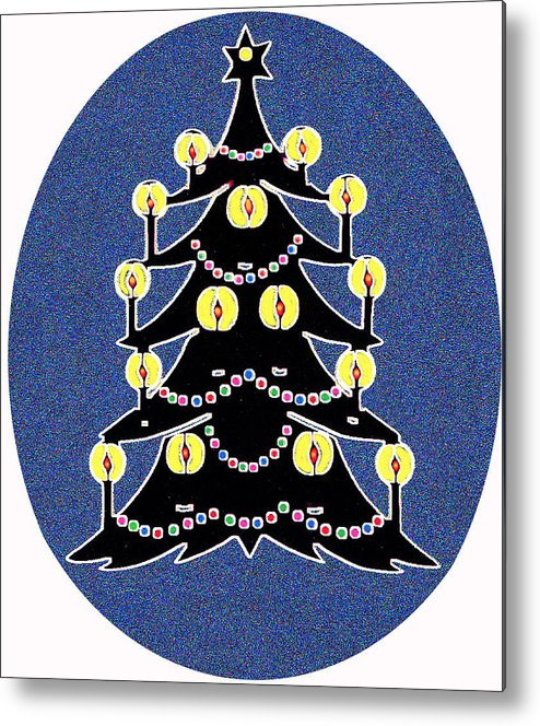 Christmas Metal Print featuring the digital art Candlelit Christmas Tree by Nancy Mueller