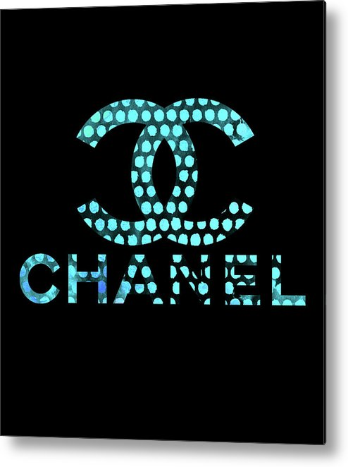 Chanel Painting Metal Print featuring the digital art Chanel Light Blue Points by Del Art
