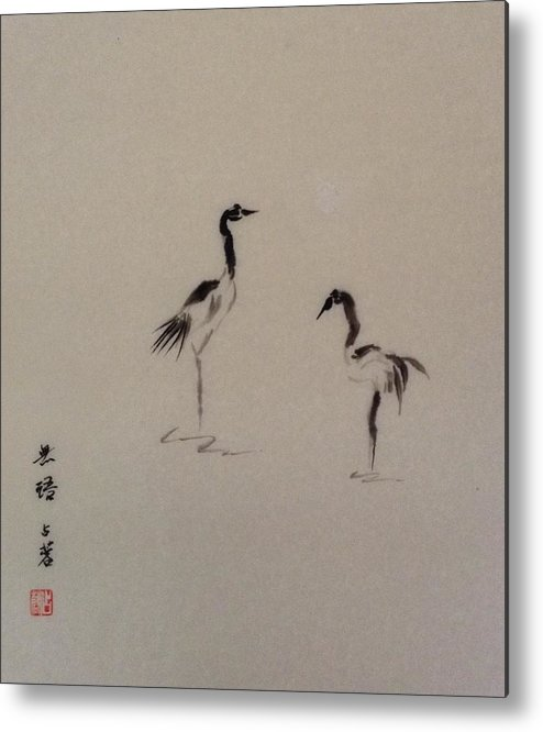 Chinese Brush Painting Metal Print featuring the painting Crane by Renee Giegoldt