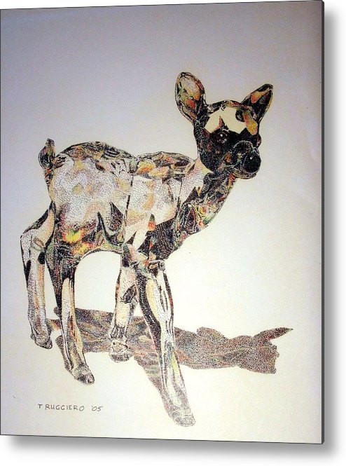Deer Fawn Crystal Figurine Swarovsky Metal Print featuring the painting Crystal by Tony Ruggiero
