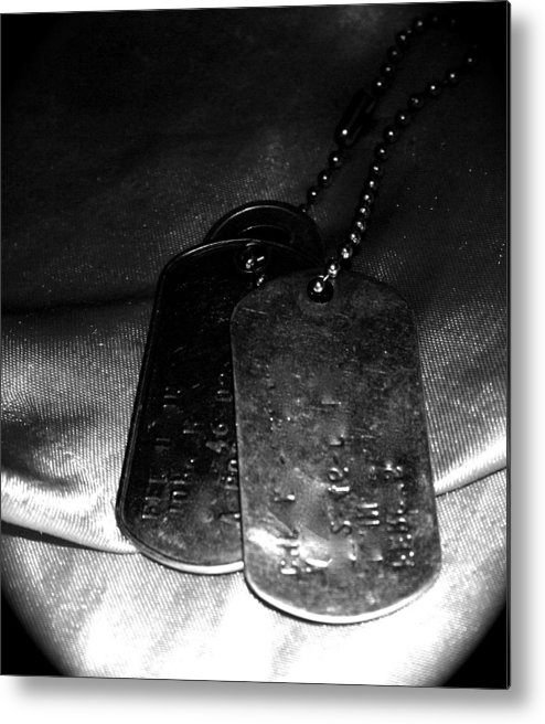 Dog Tags Metal Print featuring the photograph Dog Tags In Black And White by Aimee Galicia Torres