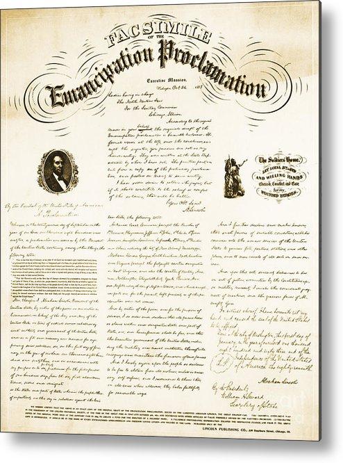 Emancipation Proclamation Metal Print featuring the photograph Emancipation Proclamation by Photo Researchers