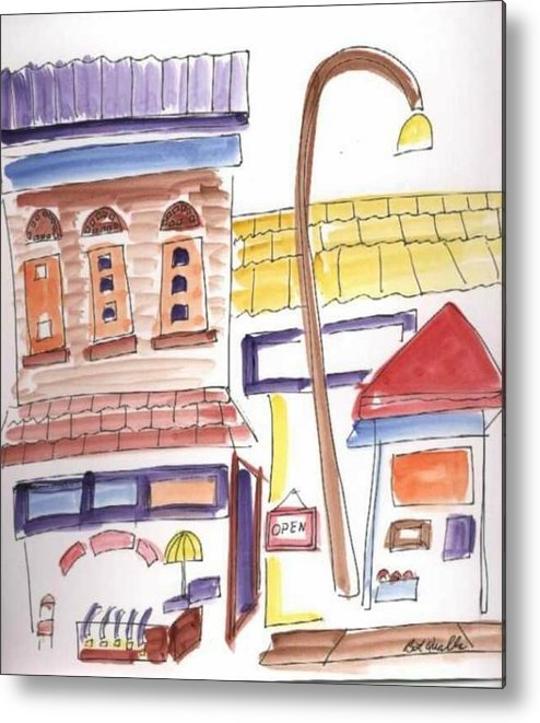 Watercolor Metal Print featuring the painting Festival In The City 4 by B L Qualls