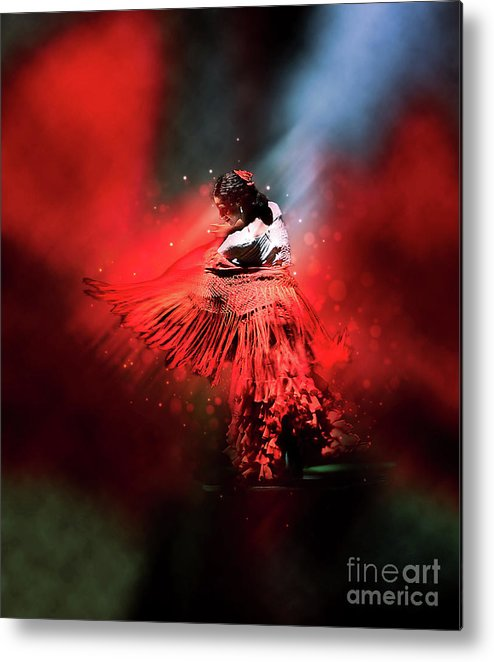 Flamenco Metal Print featuring the photograph Flamenco Dancer In Red by Mary Machare