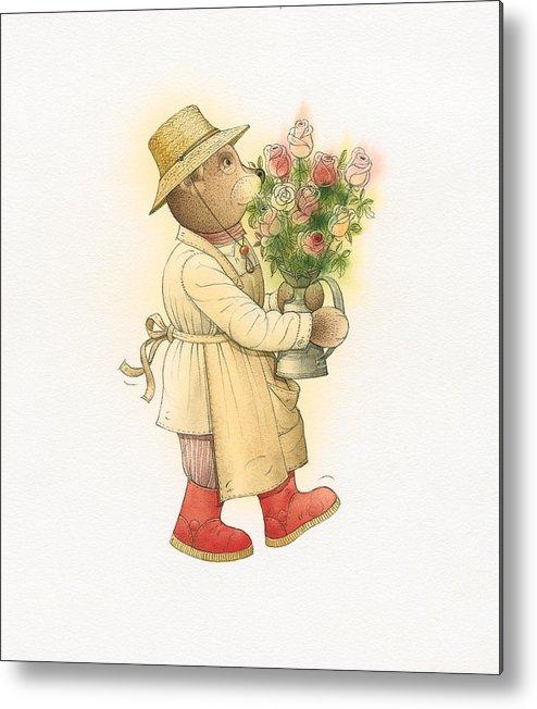 Love Garden Flowers Roses Bears Metal Print featuring the painting Florentius The Gardener01 by Kestutis Kasparavicius