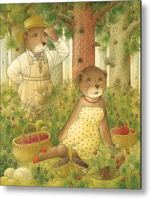 Bears Forest Love Flirt Berry Glamour Metal Print featuring the painting Florentius The Gardener12 by Kestutis Kasparavicius