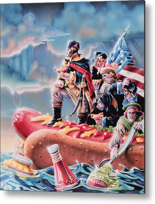 Crossing The Delaware Metal Print featuring the painting Great American Hot Dog by Russel Ball
