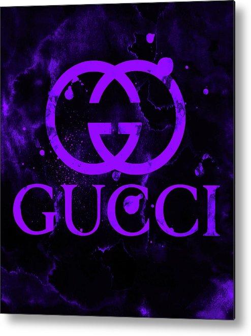 d2173393 Gucci Metal Print featuring the digital art Gucci Logo Purple 7 by Del Art