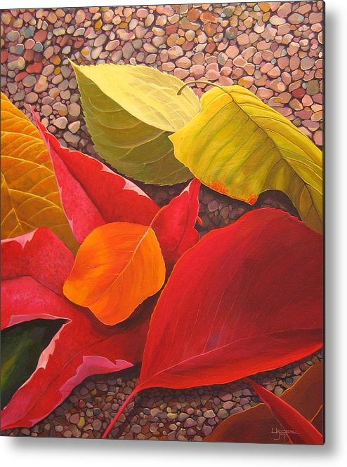 Autumn Leaves Metal Print featuring the painting Happy Landings by Hunter Jay
