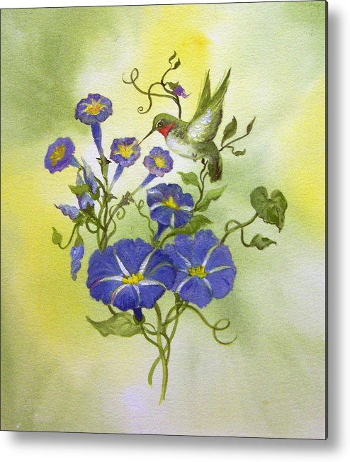 Hummingbird;bird;morning Glories;flowers;watercolor Painting; Metal Print featuring the painting Hummingbird In The Morning by Lois Mountz