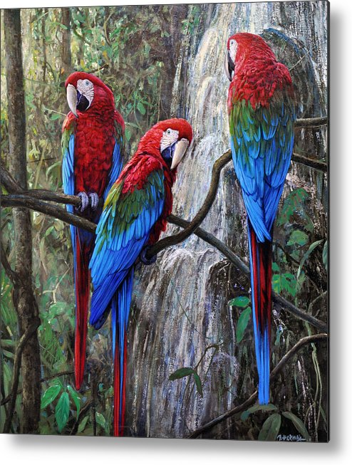 Macaws Metal Print featuring the painting In Front Of The Cascade by Gabriel Hermida