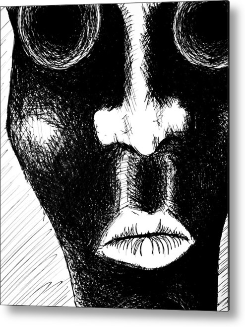 Gazing Metal Print featuring the drawing Keep Your Mouth Shut by Jera Sky