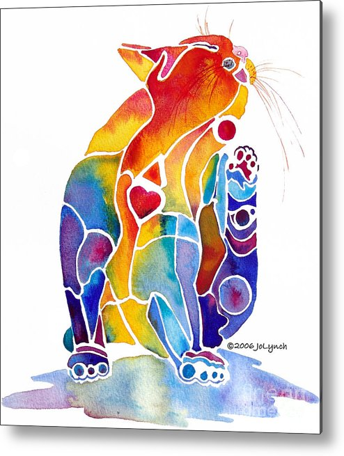 Cat Metal Print featuring the painting Luv Cat by Jo Lynch