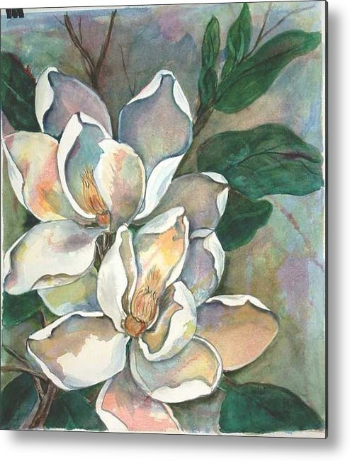 Watercolor Metal Print featuring the painting Magnolia Four by Diane Ziemski