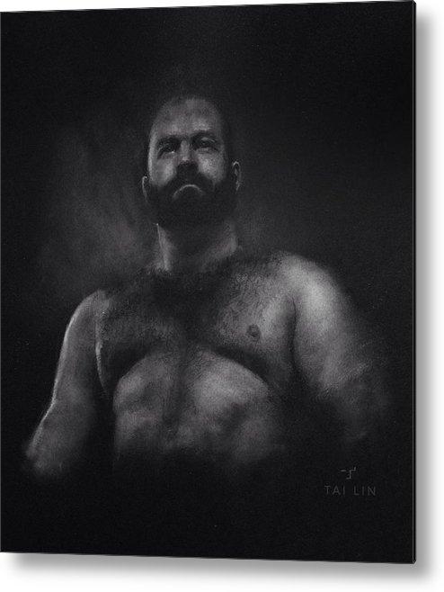 Male Nude Metal Print featuring the drawing Male Nude 9. Boris. by Tai Lin