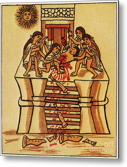 16th Century Metal Print featuring the photograph Mexico: Aztec Sacrifice by Granger