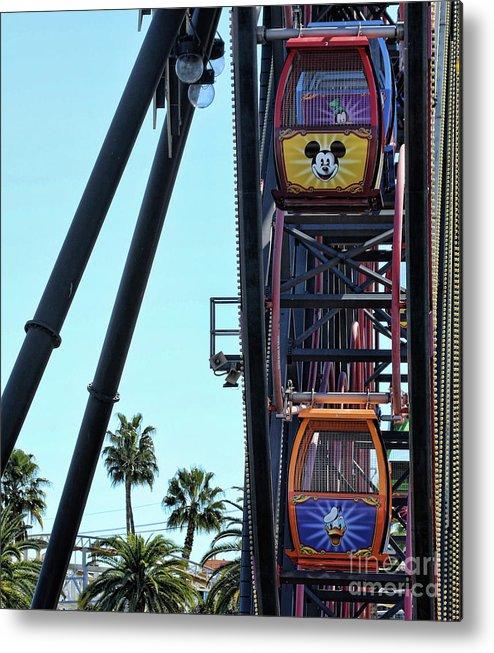 California Adventure Metal Print featuring the photograph Mickey Donald Ferris Wheel California by Chuck Kuhn