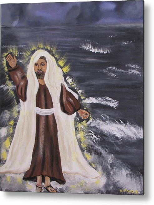 Miracle Metal Print featuring the painting Miracle On The Water by Aleta Parks