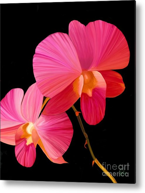 Pink Flower Metal Print featuring the painting Pink Lux by Rand Herron