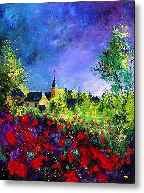 Flowers Metal Print featuring the painting Poppies In Villers by Pol Ledent