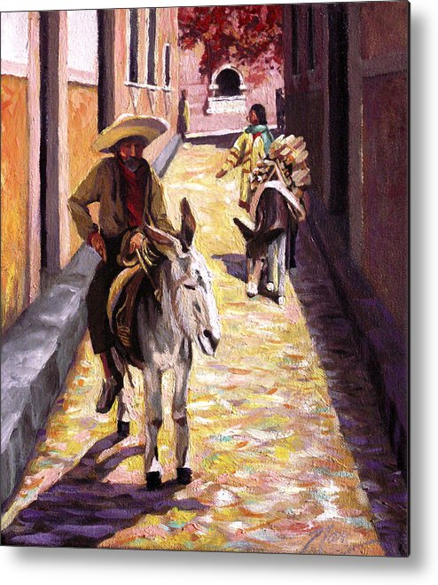 Impressionism Metal Print featuring the painting Pulling Up The Rear In Mexico by Nancy Griswold
