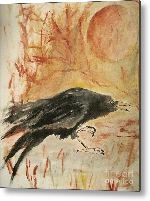 Raven Metal Print featuring the painting Raven by Sandy DeLuca