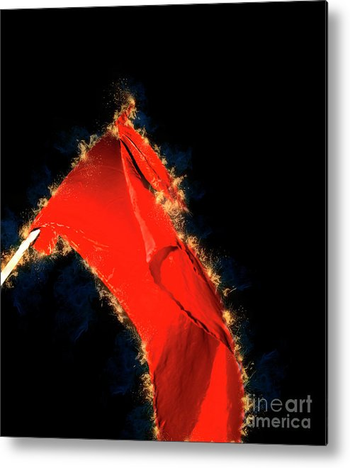 Red Metal Print featuring the photograph Red Flag On Black Background by Humourous Quotes