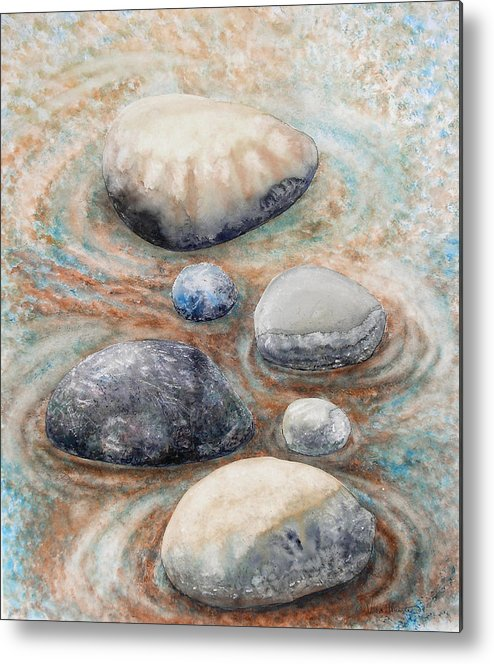 Abstract Metal Print featuring the painting River Rock 2 by Valerie Meotti
