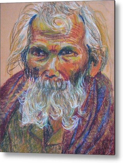Old Man Metal Print featuring the painting Scared Old Begger by Art Nomad Sandra Hansen