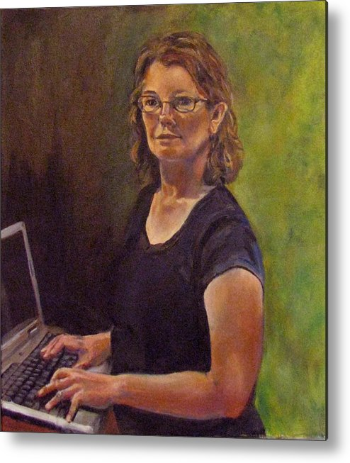 Self Portrait Metal Print featuring the painting Self Portrait After Sofonisba by Art Nomad Sandra Hansen