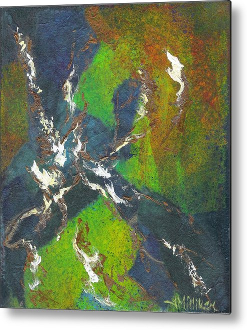 Collage Metal Print featuring the painting Shadow Dancing by Tara Milliken