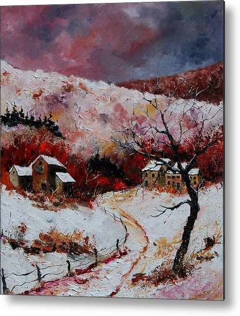 Snow Metal Print featuring the painting Snow In The Ardennes 78 by Pol Ledent