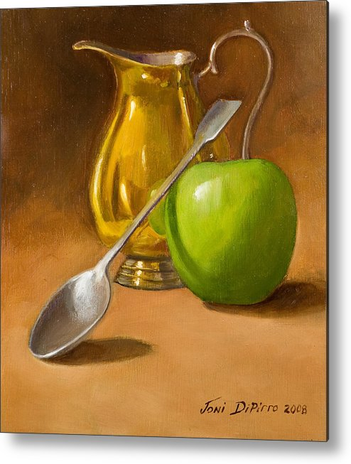 Sill Life Metal Print featuring the painting Spoon And Creamer by Joni Dipirro