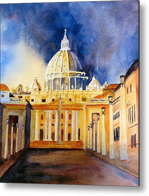 Vatican Metal Print featuring the painting St. Peters Basilica by Karen Stark